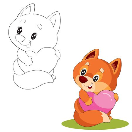 set of cute fox with big eyes holds his heart to himself and wants to give it for the holiday in color and contour, vector illustration