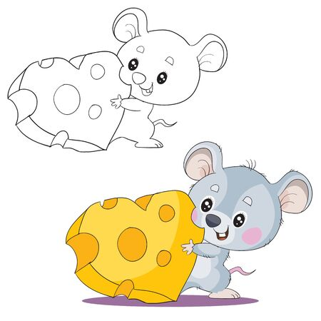 set of cute gray mouse characters holding in their paws a piece of cheese in the shape of a heart in color and in the outline, love, holiday, vector illustration