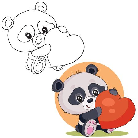 set of cute little panda character holding a big red heart in its paws and wants to give it for the holiday in color and in outline,