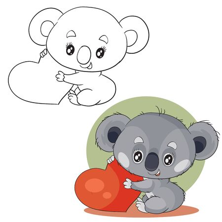 set of cute gray koala characters holding in their paws a big red heart wants to give it in color and in outline, green background, vector illustration