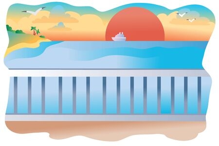 landscape of the embankment on which due to the white railings you can see the red setting sun, sea, ship, palm tree and seagulls, Illustration