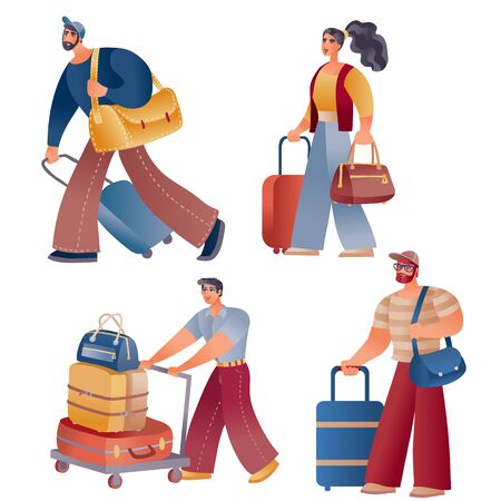 set of people who travel or go back home with bags and suitcases, isolated object on a white background, v