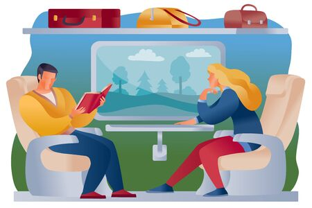 man and woman ride a train together, they are sitting in armchairs and a shelf above them with their suitcases and bags, a landscape is visible in the window, a man is reading, a woman is looking out the window,