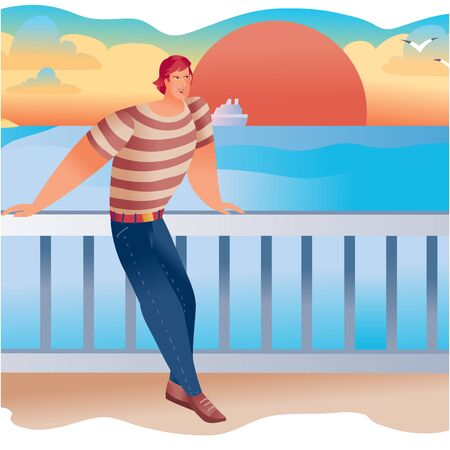 man standing on the embankment with his hands on the railing, back to the setting red sun and blue sea,