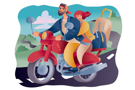 on the road there goes a motorcycle on which a man and a woman are sitting who are traveling, on a motorcycle a lot of luggage from bags and a suitcase,