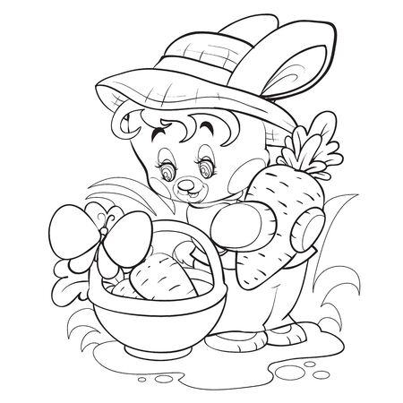 cute bunny in a hat collects carrots in his basket among the grass, outline drawing,