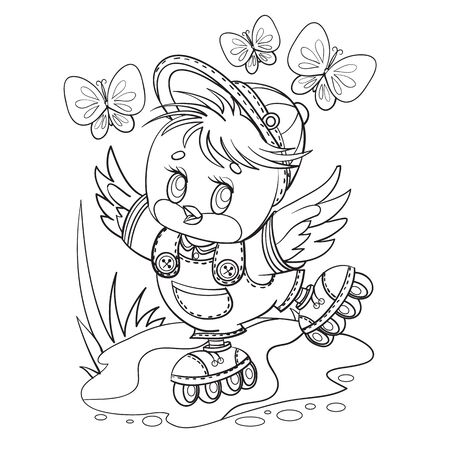 little bird in a cap and in short pants fun rollerblading along a country road, butterflies fly above him, outline drawing