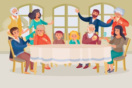 big family gathered at a large table in a large room with large windows, people sit on chairs and stand around the table, grandparents, parents, mom and dad, children, vector illustration