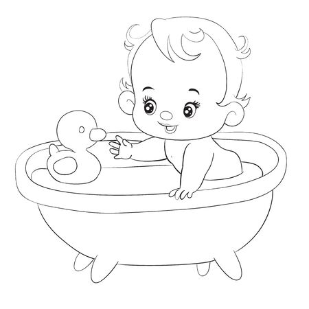 little baby bathes in a bathtub with a rubber duck, isolated object on a white background, outline drawing, vector illustration Illustration