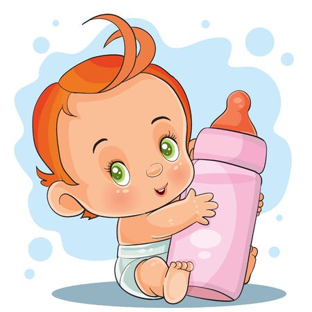 little child with red hair and a deep diaper holds in a small handles a large bottle in pink color, vector illustration Иллюстрация