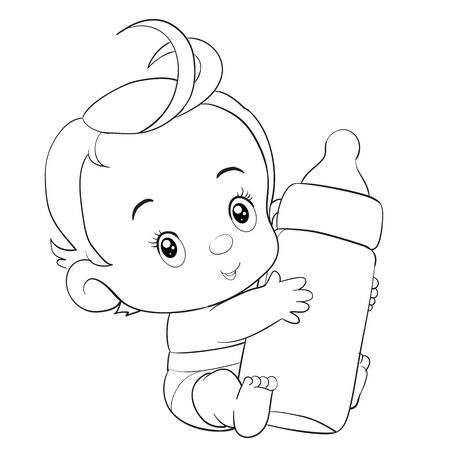 little child with red hair and in a deep diaper holds a large bottle in small pens, vector clip art, isolated object on white background, vector illustration Иллюстрация