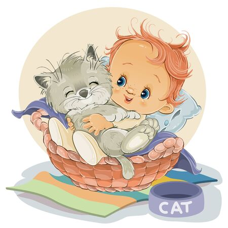 ittle boy sits in a basket and hugs his kitten, next to a stot in a bowl for food,