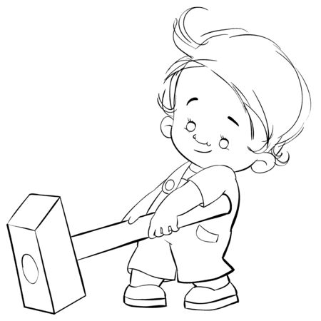 cute little boy trying to raise a big heavy hammer, helper, outline drawing, isolated object on a white background, vector illustration Stock Illustratie