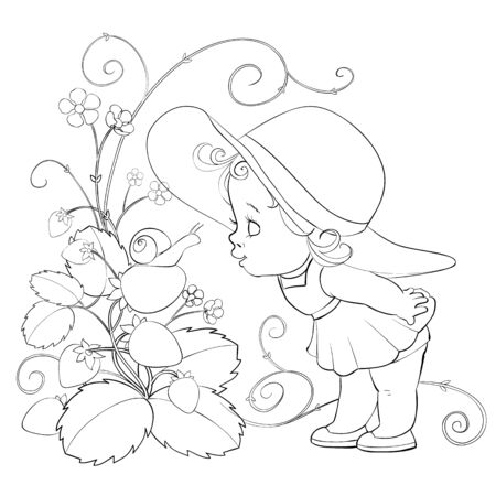 little girl in a big hat leaned over a big strawberry bushes and sniffs flowers, outline drawing, isolated object on a white background, vector illustration