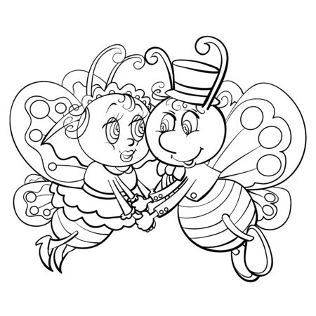 two butterflies a boy and a girl soar in the air and hold hands, love, outline drawing, isolated object on a white background,