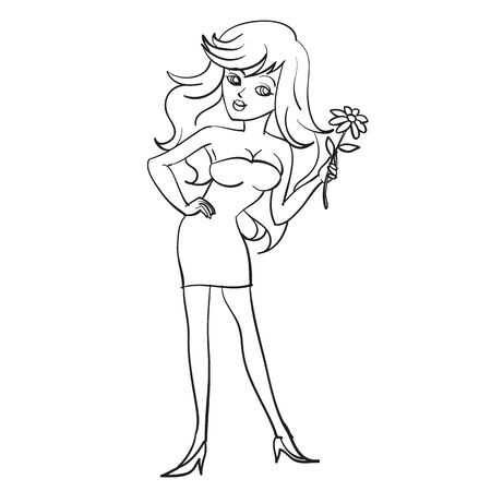 girl in a short evening dress stands with a flower in her hands, drawing in outline, isolated object on a white background,