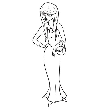 woman in a long evening dress and with a handbag waiting for someone, outline drawing, isolated object on a white background,