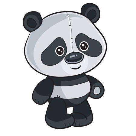 cute panda toy stands and waits when they play with it, isolated object on a white background,  イラスト・ベクター素材