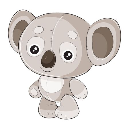 koala toy and character standing and waiting when they play with it, isolated object on a white background, Ilustrace