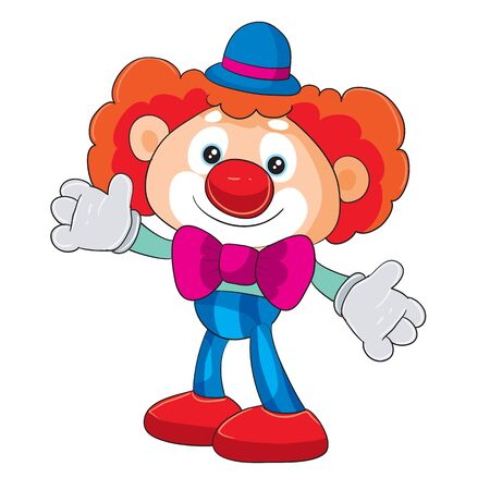 toy clown stands in full growth and waits for someone to play with him, isolated object on a white background, Illustration