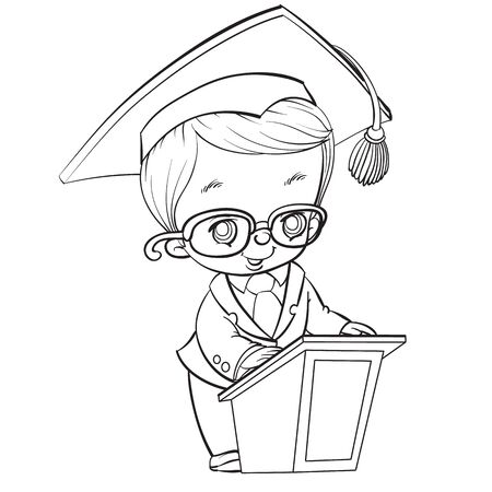 cute student child with a big head makes a speech behind the podium in the mantle and in a hat with a brush, drawing in outline, isolated object on a white background,