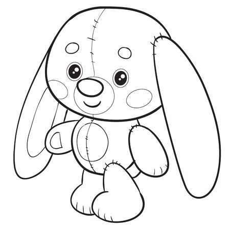 toy hare stands and waits for someone to play with him, isolated object on a white background, vector illustration outline drawing Stock fotó - 140129025