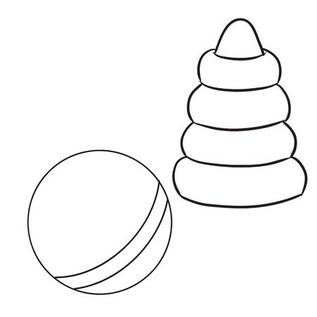 set of ball and pyramid toys for children, outline drawing, separate layers, isolated object on a white background,