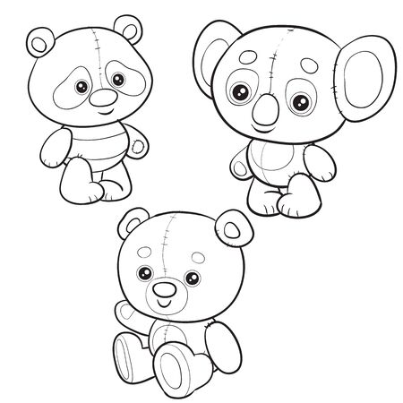 set of toys from three different bears for children, outline drawing, separate layers, isolated object on a white background,