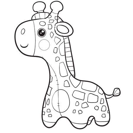 giraffe toy stands and waits for someone playing with him, isolated object on a white background, Stock Illustratie