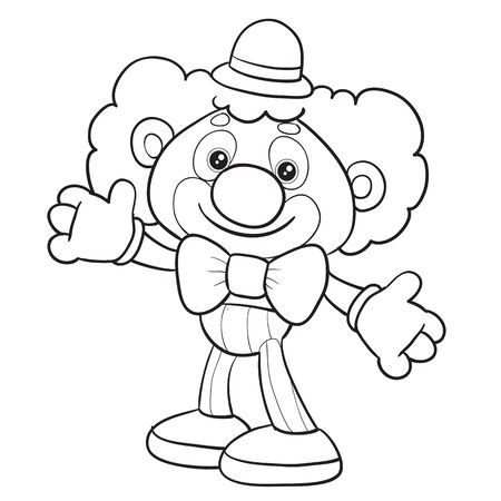 toy clown stands in full growth and waits for someone to play with him, isolated object on a white background, vector illustration outline drawing