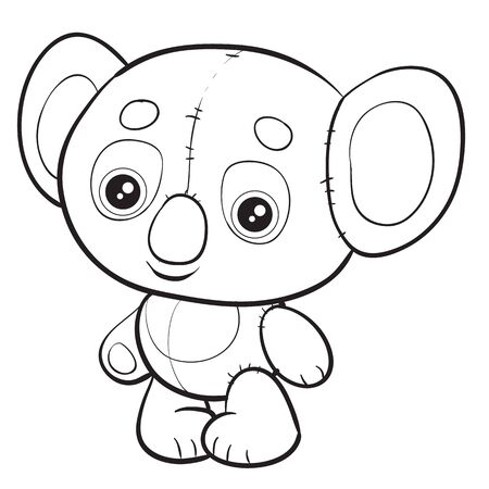 koala toy and character standing and waiting when they play with it, isolated object on a white background, 向量圖像