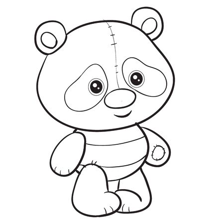 cute panda toy stands and waits when they play with it, isolated object on a white background, vector illustration outline drawing  イラスト・ベクター素材