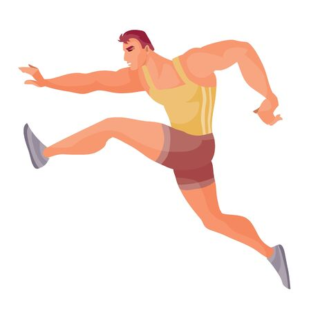 athlete runs fast in strides at competitions trying to run first, isolated object on a white background, vector illustration