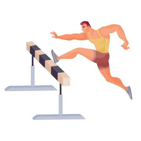 male athlete competes in the run with obstacles and jumps through the inventory, isolated object on a white background,