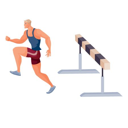 male athlete competes in the run with obstacles and has already jumped through the inventory and runs further, isolated object on a white background,
