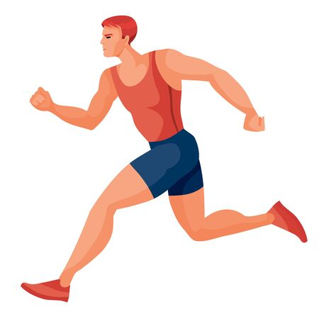 male athlete in a red tank top and blue shorts runs fast and tries to win the competition, hope, victory, prize, success, goal, isolated object on a white background,