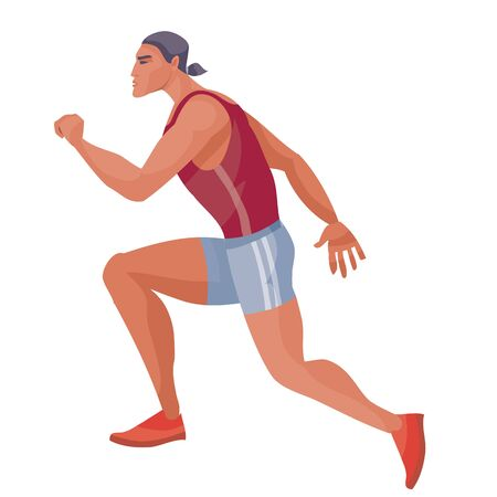 male athlete in a red tank top and blue shorts runs fast and tries to win the competition, hope, victory, tenacity, success, goal, isolated object on a white background, vector illustration