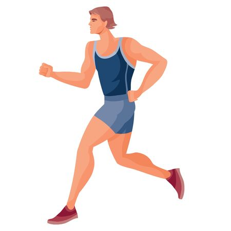 male athlete in a blue tank top and blue shorts runs fast and tries to win the competition, hope, victory, tenacity, success, goal, discipline, isolated object on a white background,
