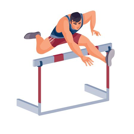 men takes part in the hurdle race and jumps well over the barrier, success, goal, isolated object on a white background, vector illustration