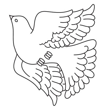 decorative pigeon flies up spreading its wings, outline drawing, isolated object on a white background,