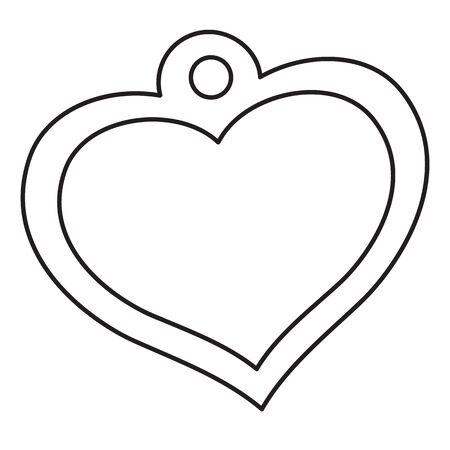 heart-shaped medallion, outline drawing, isolated object on white background,