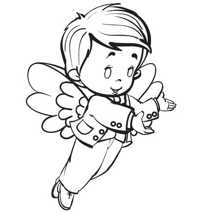 tangel baby in a parade costume with spread wings, outline drawing, isolated object on a white background, vector illustration Stock Illustratie