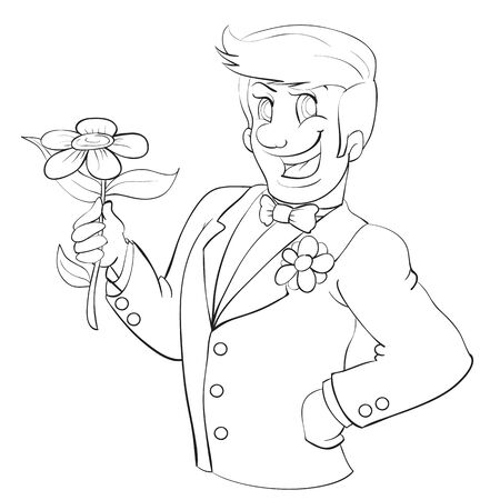 groom in a tuxedo, a happy smile and a flower in his hands, drawing in outline, isolated object on a white background,