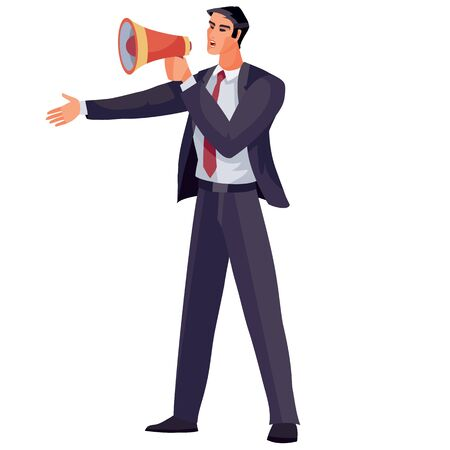 businessman dressed in a business blue suit and holding a shout in his hands and shouting through it, isolated object on a white background,