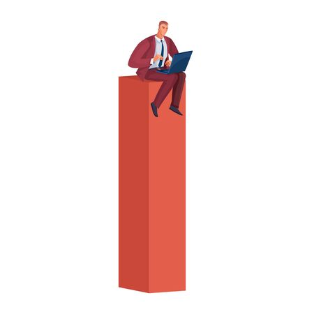 businessman sitting on a high red pillar which symbolizes success and ability to work and holds on his lap an open laptop and works in it, isolated object on a white background,