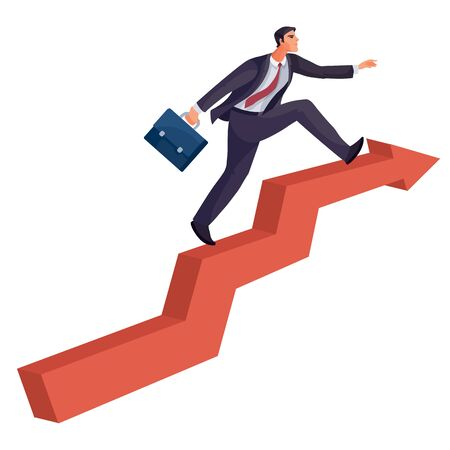 man with a briefcase in his hands confidently strides along the red arrow, which strives up, success, aspiration, isolated object on a white background, Stock Illustratie