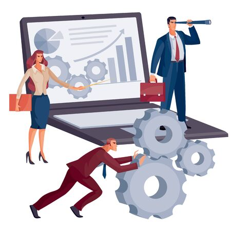 a team of men and women makes a presentation on a large laptop with charts and diagrams, a woman with a pointer a man with a spyglass, another man pushing gears forward, vector illustration