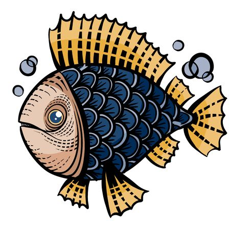 decorative fish painted with patterns for logo, label, packaging, tattoo, isolated object on a white background,