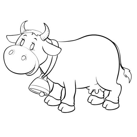 cow with a big bell on his neck for coloring, outline drawing, isolated object on a white background,