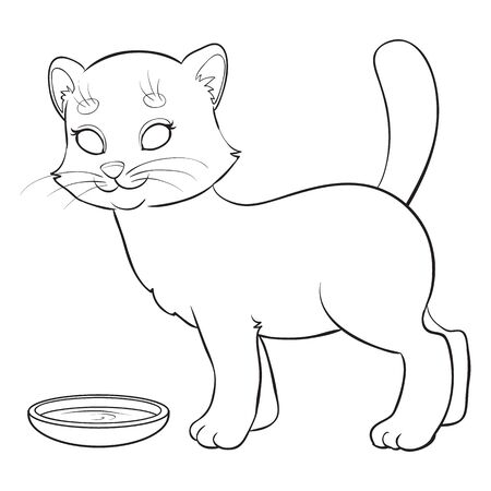 cat is standing next to a bowl, for coloring, isolated object on a white background, outline drawing, Ilustração Vetorial
